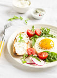 Fried egg, vegetable salad and a grilled cheese sandwich Royalty Free Stock Photos