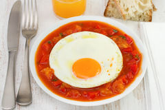 Fried egg with vegetables Stock Images