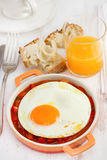 Fried egg with vegetables Royalty Free Stock Photo