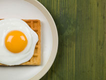 Fried Egg on a Waffle Stock Images