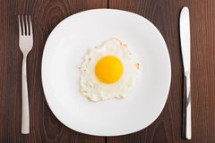 Fried egg on white plate Royalty Free Stock Images