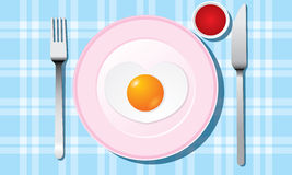 Fried egg on White plate set vector Royalty Free Stock Photos
