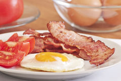 Fried Egg With Bacon Stock Photos