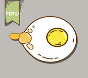 Fried egg with yellow yolk. On dish Royalty Free Stock Image