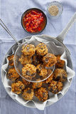 fried eggplant appetizer. vegetarian aubergine balls. with tomato sauce and spices. vegan cuisine royalty free stock image