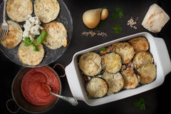 Fried Eggplant In Baking Pan With Parmigiana Stock Images