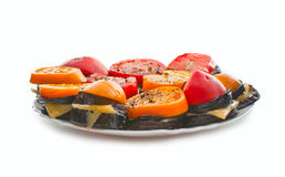 Fried eggplant with cheese and tomatoes Stock Photo