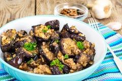 Fried Eggplant com nozes foto de stock royalty free