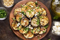 Fried eggplant with feta, pine nuts, fresh herbs (cilantro, parsley) and olive oil. Tasty vegetable snack, summer, spring food,. Picnic stock image