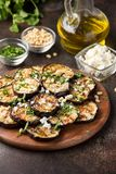Fried eggplant with feta, pine nuts, fresh herbs (cilantro, parsley) and olive oil. Tasty vegetable snack, summer, spring food,. Picnic stock images