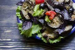Fried eggplant with fresh salad and spices royalty free stock photos