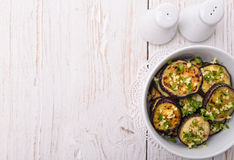 Fried eggplant with garlic. Royalty Free Stock Photo