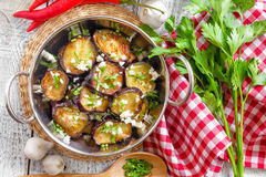 Fried eggplant with garlic Stock Photography