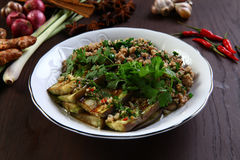 Fried eggplant with minced beef.  stock image