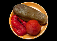 Fried eggplant tomato and pepper Royalty Free Stock Photography