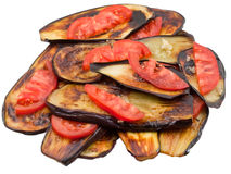 Fried eggplants with fresh tomato Stock Photography