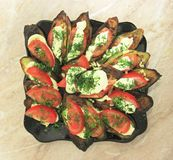 Fried eggplants and fresh tomato with souce and herbs. A Fried eggplants and fresh tomato with souce and herbs stock photography