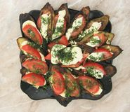 Fried eggplants and fresh tomato with souce and herbs. A Fried eggplants and fresh tomato with souce and herbs on the black plate stock image