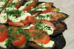 Fried eggplants and fresh tomato with souce and herbs. On the black plate stock image