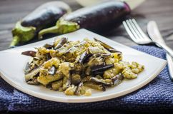 Fried eggplants with garlic Stock Images