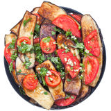 Fried eggplants with red tomato Royalty Free Stock Photography