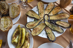 Fried eggplants and stuffed green peppers Royalty Free Stock Images