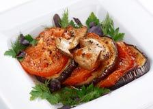 Fried eggplants and tomatoes Stock Photo