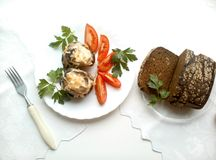 Fried eggplants with tomatoes vegitarian food and bread Royalty Free Stock Images