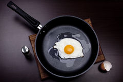 Fried eggs. Fried egg on a frying pan royalty free stock image