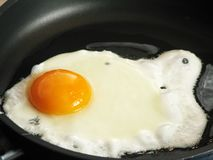 Fried eggs. Tasty fried eggs on black pan, close-up Royalty Free Stock Photography