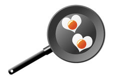 Fried eggs. With the shape of a heart in a frying pan Royalty Free Stock Photos