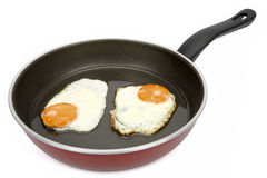 Fried eggs. Two fried eggs on non-stick frying pan Royalty Free Stock Photo