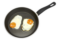 Fried eggs. Two fried eggs in non-stick frying pan isolated on white Stock Images