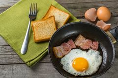 Fried Eggs And Bacon Royaltyfria Foton