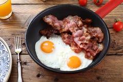 Fried Eggs And Bacon Stockbilder