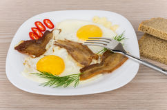 Fried eggs and bacon with dill, peppers, garlic in plate Stock Image
