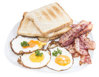 Fried Eggs and Bacon isolated on white Royalty Free Stock Images