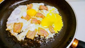 Fried eggs with bacon in a pan. Scrambled fried eggs with bacon in a pan royalty free stock images