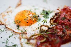 Fried eggs with bacon Stock Photography