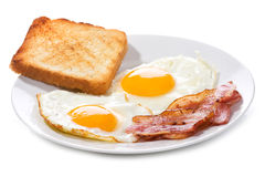 Fried eggs with  bacon and toasts Royalty Free Stock Images