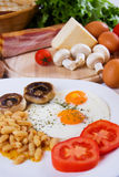 Fried eggs with beans and mushrooms Stock Photos