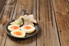 Fried eggs and bread Royalty Free Stock Image