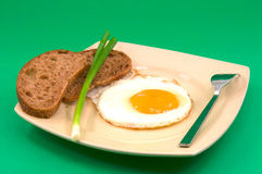 Fried eggs with bread Stock Photo