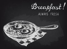 Fried eggs with broccoli on the pan. Chalkboard style vector illustration. Royalty Free Stock Image