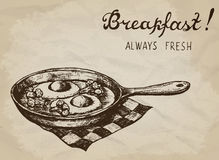 Fried eggs with broccoli on the pan. Hand drawn vector illustration. Royalty Free Stock Images
