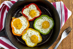 Fried Eggs in Cast Iron Skillet Stock Photography
