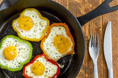 Fried Eggs in Cast Iron Skillet Stock Photos