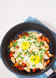 Fried eggs with chicken breast, pepper and cheese Royalty Free Stock Photography