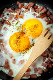 Fried eggs with chopped sausage. Royalty Free Stock Images