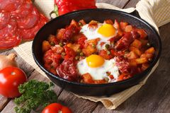 Fried eggs with chorizo on Flemish recipe in the pan. Close up horizontal Royalty Free Stock Photography